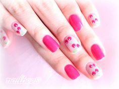40 Easy Nail Art Designs for Beginners - Simple Nail Art Design Dot Nail Designs, Black Nail Designs, Simple Nail Art Designs, Trendy Nail Art, Nail Art Diy, Easy Nail Art, Cherry Nail Art, Popular Nail Art, Nail Art For Beginners