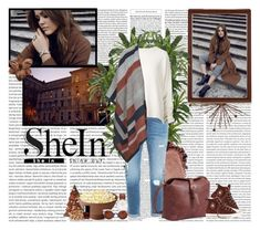 """SHEIN - Brown-Buckle-PU-Satchel-Bag"" by fashionaddict-il ❤ liked on Polyvore featuring Nearly Natural, Daniel Wellington, Converse, Fendi, STELLA McCARTNEY, Frame Denim, URBAN ZEN, Topshop and Chanel"