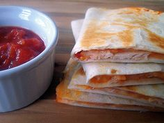 Paula Deens fast and easy Crispy Chicken and Cheese Quesadillas