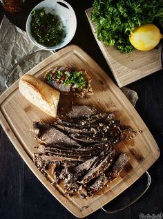 Slow Cooker Garlic Braised Brisket from Pass the Sushi