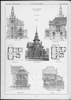 Villas, cottages and country houses / drawings of architectural monuments, buildings and objects - a visual history of architecture and styles (1000×1411)