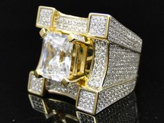 Mens 925 Sterling Silver Yellow Simulated Lab Diamond 3D XXL Solitaire Ring #JewelryHiphop