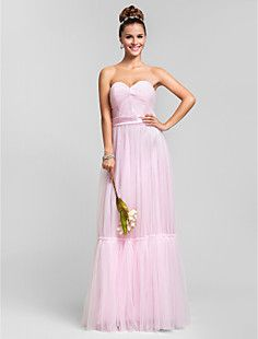 Sheath/Column Sweetheart Floor-length Criss Cross Tulle Brid... – USD $ 119.99