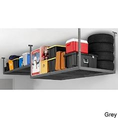 No two garages are the same, so choose a ceiling storage rack with adjustable heights to fit your needs or garage space. Hang a shallow rack above the open garage door and deeper shelf where your garage door track stops to maximize your vertical space. Garage Ceiling Storage, Garage Storage Racks, Garage Organization Tips, Do It Yourself Organization, Overhead Garage Storage, Garage Storage Solutions, Garage Shelving, Garage Ideas, Workshop Organization
