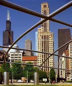 Chicago - Skyline from Jay Pritztker Pavillion Chicago Art, Chicago Travel, Chicago Skyline, Willis Tower, Jay, Travel Photography, David, Explore, Nice