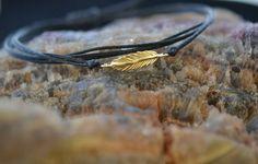 Live Free Gold Feather Bracelet Handmade by ViazisJewelry on Etsy
