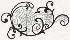 Delicate swirls encompass a series of eerie spider webs, perfect for accenting your home decor for Halloween and more!