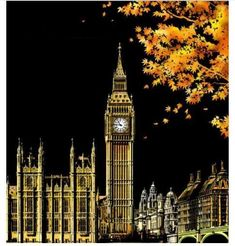 Scratchboard Art, Big Ben London, Scratch Art, Modern Art Paintings, Drip Painting, Creative Artwork, Business For Kids, Beautiful Moments, Diy Art