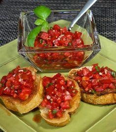 Classic Bruschetta with Tomatoes, Basil and Garlic