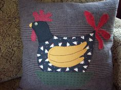 Folk Art Rooster Pillow Slipcover by rustiquecat on Etsy