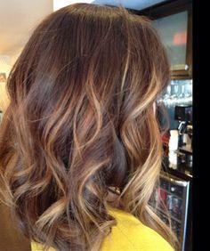 Pretty medium brown brunette balayage with caramel tones