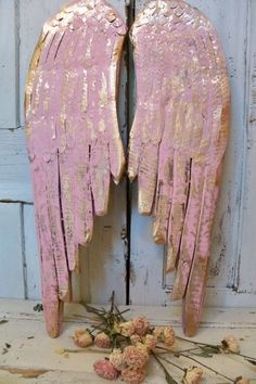 Pink carved wooden wings by AnitaSperoDesign