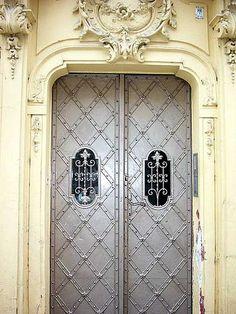 Love the cream color with the silver. Art Nouveau door, Prague