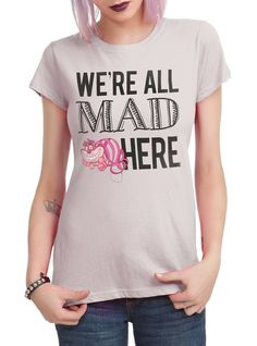 Disney Alice In Wonderland We're All Mad Juniors T-Shirt Tee