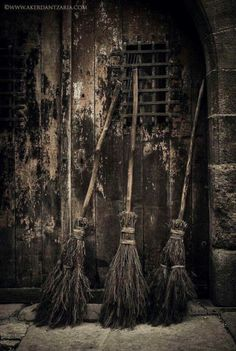 Three wonderful brooms parked outside a very spooky door! Perfect photo for Halloween invitations! Witch Broom, Witch Art, Pagan Witch, Casa Halloween, Vintage Halloween, Happy Halloween, Season Of The Witch, Witch Aesthetic, Coven