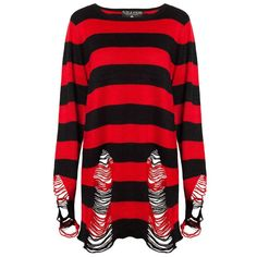 Awesome knitted sweater with a Freddie Krueger inspired design from Killstar. This oversized sweater features a black and red horizontal striped design on its front and long sleeves.