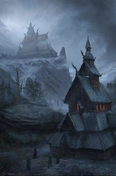 cinemagorgeous: The North by artist Rene Aigner. Fantasy City, Fantasy Places, High Fantasy, Medieval Fantasy, Sci Fi Fantasy, Fantasy World, Fantasy Concept Art, Fantasy Artwork, Fantasy Landscape