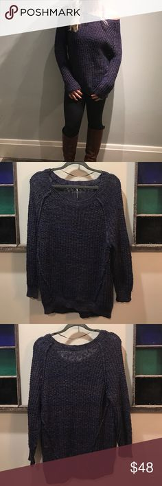 Free people sweater Excellent used condition Free people sweater! Beautiful deep marled purple, soft and comfy and perfect with leggings and boots! Free People Sweaters