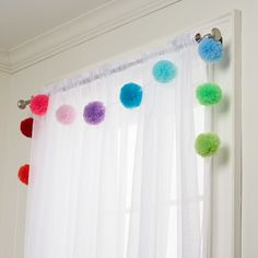Colorful Tulle Pom-Pom Garland - Kids Curtains - Ideas of Kids Curtains Tulle Poms, Pom Pom Garland, Pom Pom Curtains, Kids Curtains, Tulle Tutu, Sewing Curtains, Tulle Garland, Door Curtains, Craft Stick Crafts