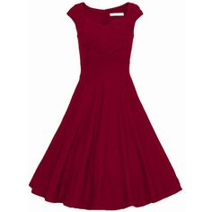 Red Heart Shape Collar Puffball Sleeveless Red Dress (€23) ❤ liked on Polyvore featuring dresses, short dress, long-sleeve mini dress, short sleeve dress, cap sleeve dress, red skater dresses and red knee length dress