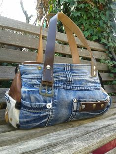 Bag Denim Handbag OOAK Purse - Denim purse handbag bag OOAK made just for you Jean Purses, Purses And Bags, Jean Diy, Sacs Tote Bags, Sewing Jeans, Denim Purse, Denim Ideas, Denim Crafts, Old Jeans