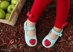Snow White shoes - princess shoes - hand painted blue snow white inspired red apple maryjanes for girls - baby and toddler