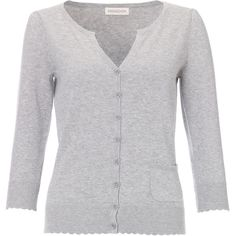 Monsoon Cotton Scallop Cardigan ($42) ❤ liked on Polyvore featuring tops, cardigans, sweaters, outerwear, shirts, grey cotton cardigan, grey button cardigan, scalloped top, grey shirt and flower cardigan