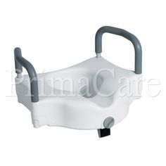 Raised Toilet Seat – With Arms   http://www.primacare.co.za/shop/toilet-aids/raised-toilet-seat-arms/ This modern looking unit also offers comfort. The sturdy plastic construction allows for easy cleaning. Tightened securely into position and fits most toilets.