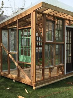 she shed diy outdoor furniture outdoor living woodworking projects more windows Shed Of The Year, Pool Shed, Cheap Sheds, Greenhouse Plans, Cheap Greenhouse, Greenhouse Wedding, Greenhouse Farming, Window Greenhouse, Backyard Greenhouse