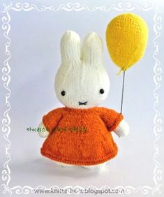 knitterbees: Miffy and her balloon plush toy free knitting pattern Knitting Patterns Free, Free Knitting, Baby Knitting, Amigurumi Patterns, Crochet Patterns, Free Pattern, Knitting Toys, Knitting Needles, Knitting For Kids