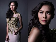 MODEL: Kay Marie Berangel | Hair and Make-Up: George Villamor | Styled by: Jennifer Cataraja | Photographer: Albert Pedrosa - cream beaded gown Beaded Gown, World Of Fashion, Gowns, Cream, Formal Dresses, Model, How To Make, Hair, Style