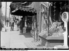 North-east corner Queen McCaul Streets, Toronto, May 1949 (note the shop selling fireworks) Toronto City, Toronto Canada, Milwaukee Wisconsin, Landscape Photos, Old Pictures, Gta, Ontario, Moose, Past