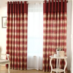 LR X2 3699 Set DEC MAR Simple Red Plaid Country Curtains Linen And Cotton