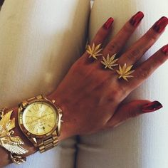 gold jewels weed jewelry ring diamonds 3 finger ring rings watch bracelet all gold everything canabis egyptian gold bracelet weed leaf