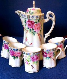 Antique Hand Painted Victorian Rose Nippon Chocolate Pot Set