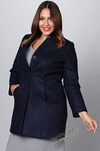 Płaszcz  flauszowy zimowy elegancki stójka ciemny granat