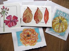 I'll be teaching a free online class for strathmore artists papers starting september 2013. these are cards from that class, painted by me. from my sketchbook by janelafazio, via Flickr
