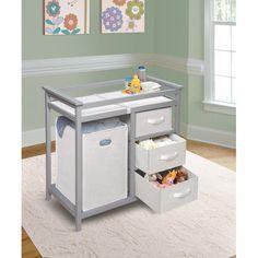 Baby Changing Table Nursery Furniture Basket Diaper Storage Hamper White Gray #BadgerBasket