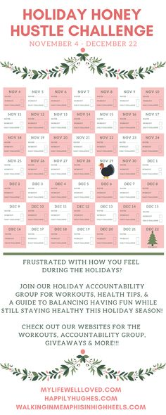 Holiday Workout: Holiday Honey Hustle Week 1 - My Life Well Loved Group Fitness, Fitness Nutrition, Fitness Goals, Yoga Fitness, Fitness Tips, Fitness Motivation, Health And Fitness Articles, Health And Wellness, Holiday Workout
