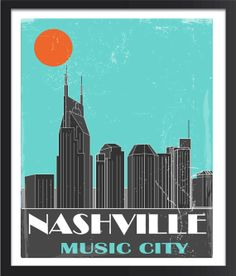 Nashville Skyline Nashville Poster by FlyGraphics on Etsy Nashville Skyline, Music City Nashville, Nashville Tennessee, Les Themes, Room Themes, Vintage Travel Posters, Poster Vintage, Vintage Signs, Wooden Wall Art