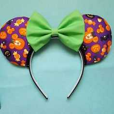 Mickey pumpkin Halloween Mouse ears purple by DarlinBowsnThings