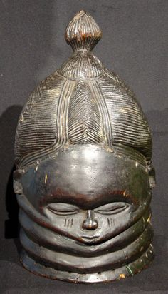 Mende Bundu mask, Sande society, Sierra Leone, #y2195-1, authentic African tribal art