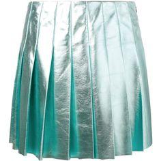 Miu Miu  metallic pleated skirt (123.565 RUB) ❤ liked on Polyvore featuring skirts, mini skirts, blue, leather skirt, short skirts, pleated skirt, short leather skirt and mini skirt