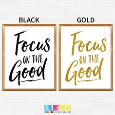 Printable Wall Art Focus On The Good Prints Black and White Prints Gold Printable Small Office Home Decor Cute Office Print (Pstr494) by WallArtPoster