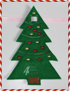 """In The Hoop Christmas Tree Bunting 5x7   This is a really quick and easy make, perfect for craft fairs.  There is a space for you to add a name or add a letter to each tree and spell out Merry Christmas or other festive greeting.  The button holes take up to 10mm wide ribbon.  Design size 4.13 x 6.66""""  PES, JEF, VIP, VP3, XXX, HUS, EXP, DST formats and full instructions"""