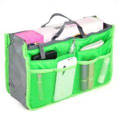 Nylon Handbag Insert Comestic Gadget Purse Organizer (Green) NEED THIS!!! LOVE IT!!! <3 :)