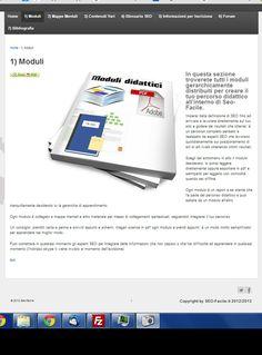Pagina dei moduli: oltre 30 moduli divisi per capitoli, oltre 200 capitoli contenenti tutti i segreti del seo, aggiornati ogni 15 del mese