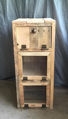 """What a great place to keep veggies fresh and store things. This one was part of order along with the recycling and trash bin. Dimensions are about 14"""" wide, 34"""" tall, and 18"""" deep. (can customize the #palletfurniturebedroom"""