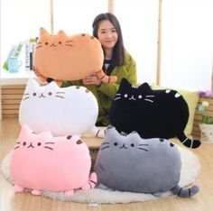Fat Cat Cartoon Cushion Plush Stuffed Throw Pillow Home Decor Kitty Toy Doll