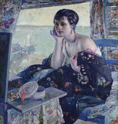 Richard E. Miller (1875 – 1943) was an American Impressionist painter and a member of the Giverny Colony of American Impressionists. - 'Woman by a Window'
